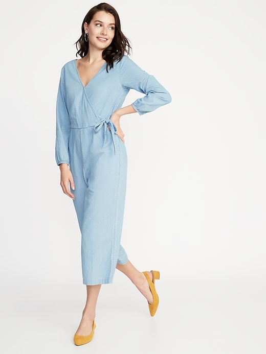 Waist-Defined Wrap-Front Chambray Jumpsuit for Women