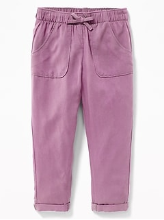 Soft Utility-Pocket Pull-On Pants for Toddler Girls