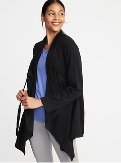 Cinched-Neck French Terry Open-Front Wrap for Women