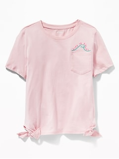 Pocket Graphic Side-Tie Tee for Girls