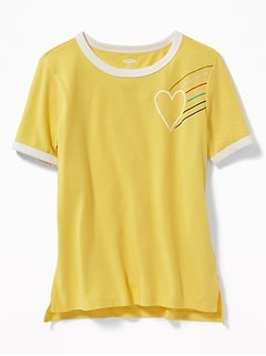 Heart-Graphic Ringer Tee for Girls