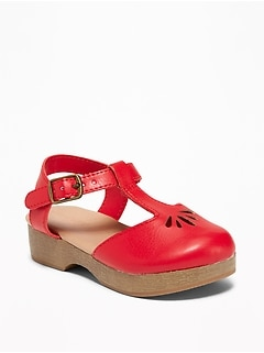 Faux-Leather Cut-Out Clogs For Toddler Girls