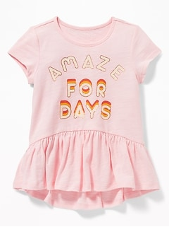 Graphic Jersey Peplum-Hem Tee for Toddler Girls