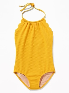 Textured Scalloped-Edge Halter Swimsuit for Girls