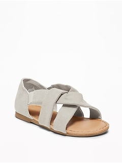 Slouchy Faux-Suede Cross-Strap Sandals For Toddler Girls