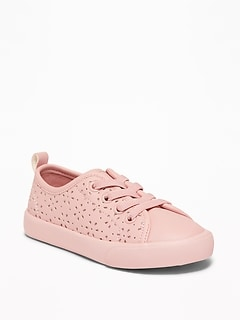 Perforated Elastic-Lace Sneakers For Toddler Girls