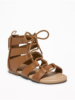 Lace-Up Gladiator Sandals For Toddler Girls
