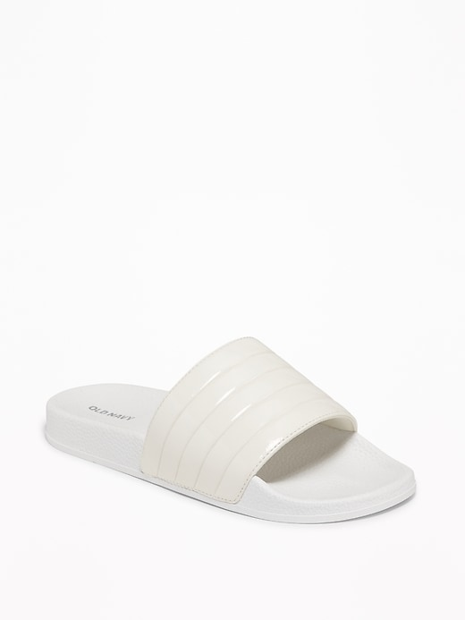 Tubular Faux-Leather Pool Slide Sandals for Women