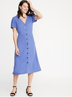 Waist-Defined V-Neck Button-Front Midi for Women