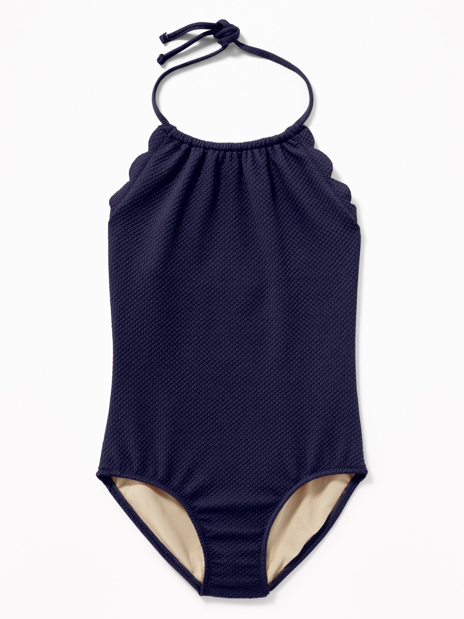cf2a88d536a1 Textured Scalloped-Edge Halter Swimsuit for Girls | Old Navy