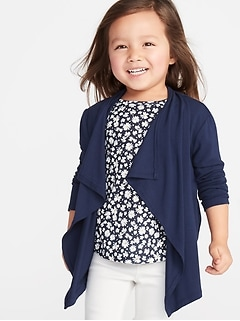 Open-Front Jersey Waterfall Cardi for Toddler Girls