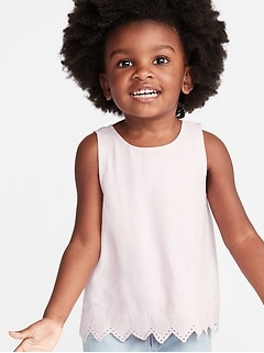 Linen-Blend Embroidered Zig-Zag Hem Top for Toddler Girls