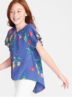 Slub-Knit Floral-Print Flutter-Sleeve Tunic for Girls