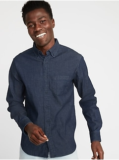 Regular-Fit Built-In Flex Chambray Everyday Shirt for Men