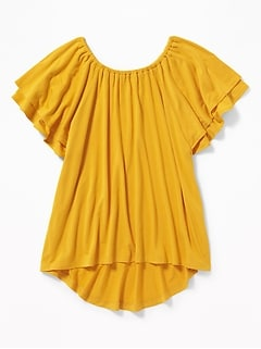 Tiered Flutter-Sleeve Jersey Tunic for Girls