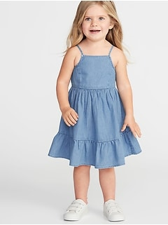 Tiered Chambray Fit & Flare Dress for Toddler Girls