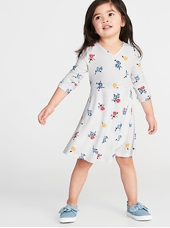 Wrap-Front Fit & Flare Jersey Dress for Toddler Girls