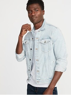 Light-Wash Built-In Flex Denim Jacket for Men