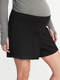 Maternity Rollover-Waist Yoga Shorts - 5-inch inseam