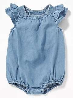 Chambray Ruffle-Sleeve Bubble Bodysuit for Baby