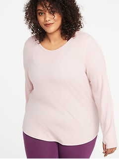 French Terry Surplice-Black Plus-Size Performance Top