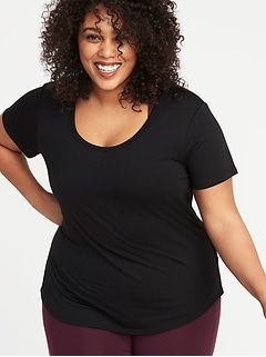 Surplice-Back Jersey Plus-Size Performance Tee