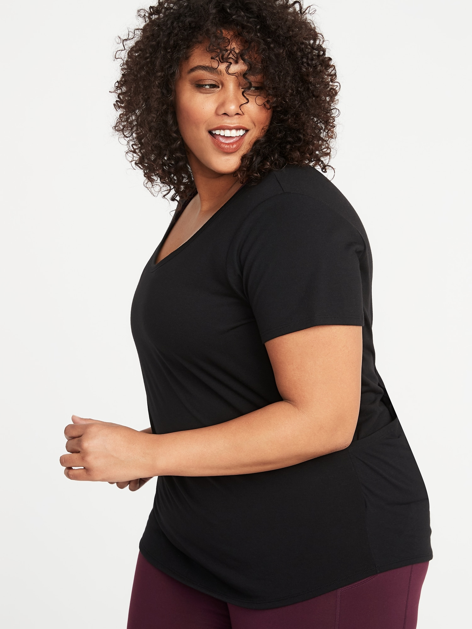f00135611e0bb7 ... Surplice-Back Jersey Plus-Size Performance Tee ...