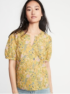 Floral Twill Puff-Sleeve Blouse for Women