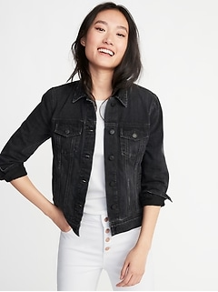 Distressed Black Jean Jacket for Women