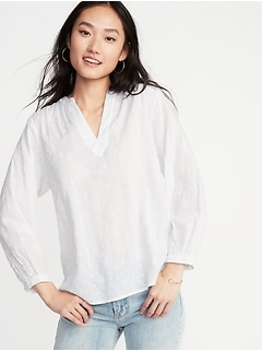 Embroidered Eyelet Split-Neck Blouse for Women