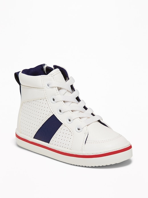 Perforated Faux-Leather High-Tops For Toddler Boys