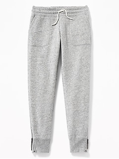 French Terry Ankle-Zip Joggers for Girls