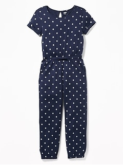Floral-Print Jersey Jumpsuit for Girls