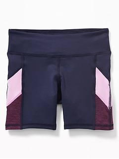 Go-Dry Color-Blocked Performance Shorts for Girls