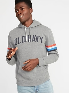 Sleeve-Stripe Logo-Graphic Pullover Hoodie for Men