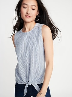 Sleeveless Textured-Stripe Tie-Hem Top for Women