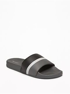 Faux-Leather Pool Slide Sandals for Men