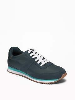 Retro Suede-Trim Sneakers for Men