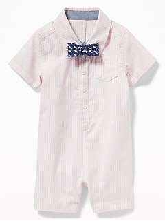 Striped Oxford One-Piece & Bow-Tie Set for Baby