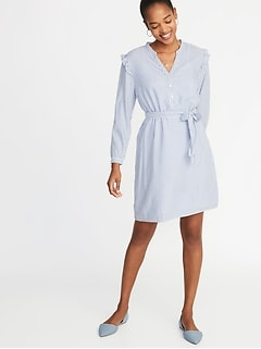 Tie-Belt Ruffle-Trim Shift Dress for Women
