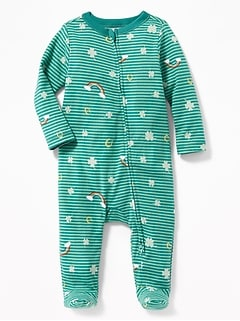 St. Patrick's Day Print Footed One-Piece for Baby