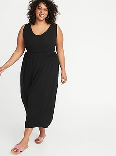 Waist-Defined Plus-Size Jersey Maxi