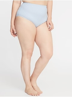 High-Rise Secret-Slim Textured-Stripe Plus-Size Swim Bottoms