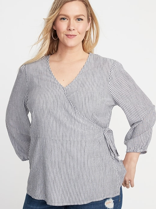 Striped Wrap-Front Tie-Waist Plus-Size Top