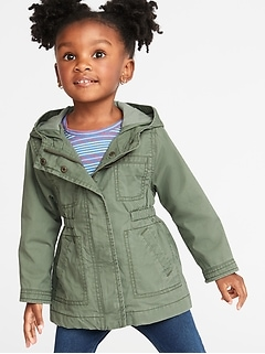 Hooded Twill Jacket for Toddler Girls