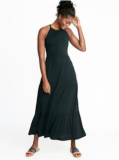 High-Neck Waist-Defined Maxi Dress for Women