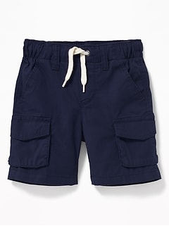 Functional Drawstring Pull-On Cargo Shorts for Toddler Boys