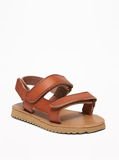 Faux-Leather Strap Sandals For Toddler Boys