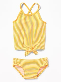 Striped Tie-Hem Tankini Swim Set for Toddler Girls