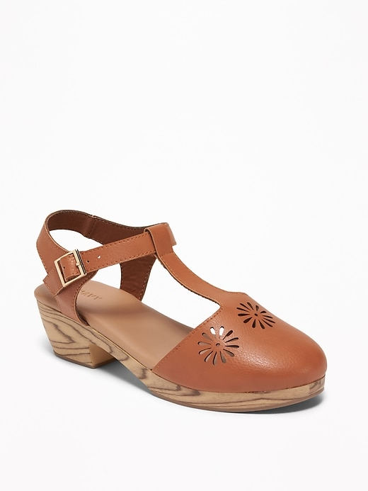 T Strap Laser Cut Sandals For Girls by Old Navy